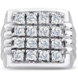 Men's 2ct Diamond Ring In 10K White Gold, I-J-K, I1-I2