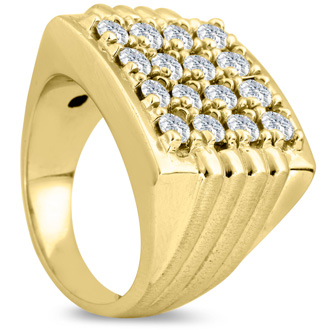 Men's 2ct Diamond Ring In 10K Yellow Gold, I-J-K, I1-I2