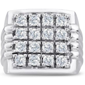 Men's 2ct Diamond Ring In 14K White Gold, G-H, I2-I3