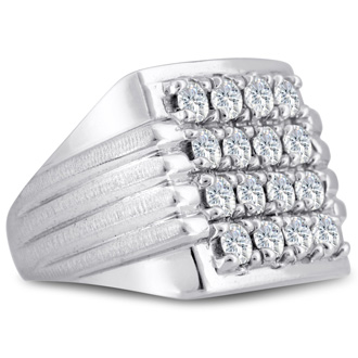 Men's 2ct Diamond Ring In 14K White Gold, I-J-K, I1-I2