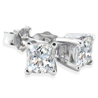 3/4ct Diamond Stud Earrings in 14k White Gold H/I, SI