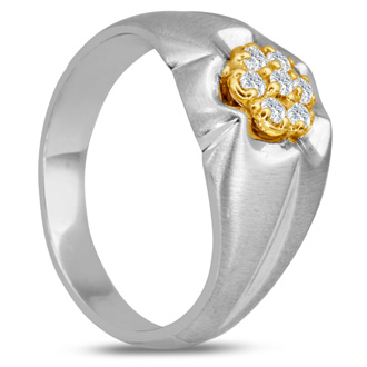 Men's 1/4ct Diamond Ring In 14K Two-Tone Gold, I-J-K, I1-I2