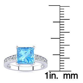 Square Step Cut 1 7/8ct Blue Topaz and Diamond Ring in 14K White Gold