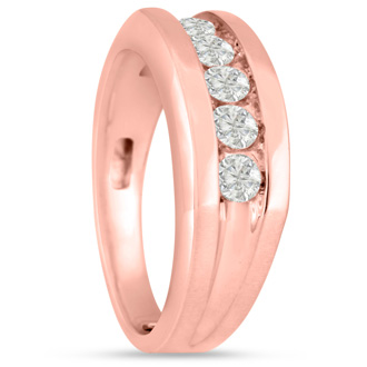 Men's 3/4ct Diamond Ring In 10K Rose Gold, I-J-K, I1-I2