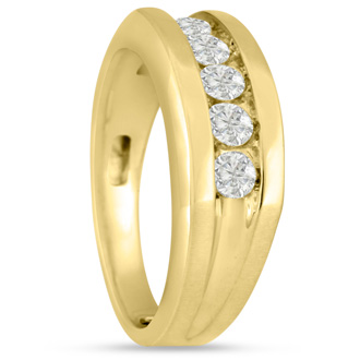 Men's 3/4ct Diamond Ring In 10K Yellow Gold, G-H, I2-I3