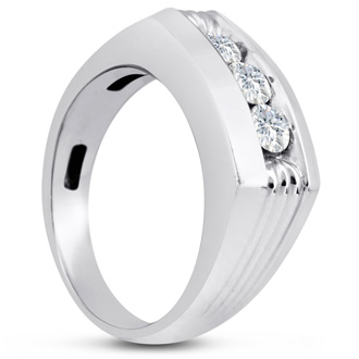 Men's 3/4ct Diamond Ring In 14K White Gold, G-H, I2-I3