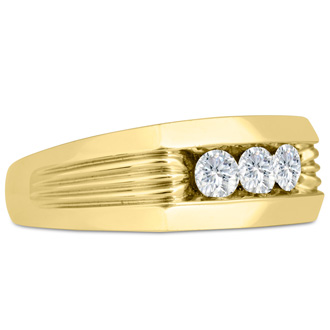 Men's 3/4ct Diamond Ring In 14K Yellow Gold, G-H, I2-I3