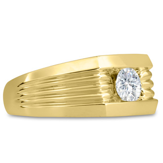 Men's 3/4ct Diamond Ring In 14K Yellow Gold, I-J-K, I1-I2