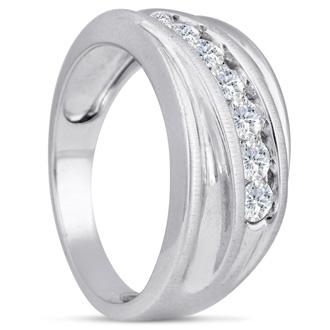 Men's 1ct Diamond Ring In 10K White Gold, I-J-K, I1-I2