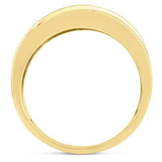 Men's 1ct Diamond Ring In 10K Yellow Gold, I-J-K, I1-I2