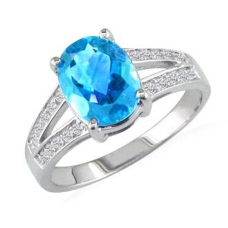 Split Band 1 1/2ct Blue Topaz and .15ct Diamond Ring, 14k White Gold