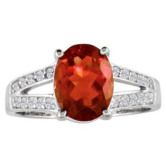 Split Band 2ct Garnet and .15ct Diamond Ring, 14k White Gold