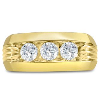 Men's 1ct Diamond Ring In 10K Yellow Gold, I-J-K, I1-I2