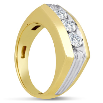 Men's 1ct Diamond Ring In 10K Two-Tone Gold, G-H, I2-I3