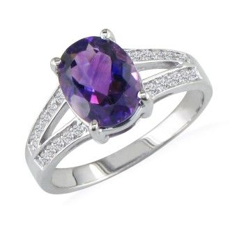 Split Band 1 1/2ct Amethyst and .15ct Diamond Ring, 14k White Gold