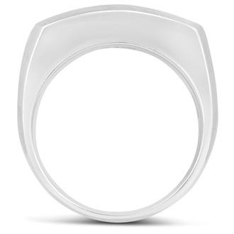 Men's 1ct Diamond Ring In 14K White Gold, I-J-K, I1-I2