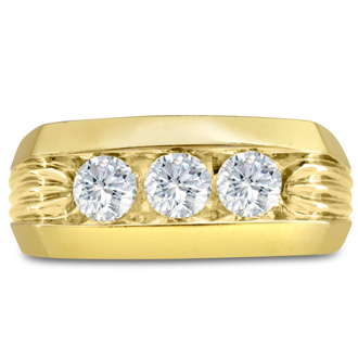 Men's 1ct Diamond Ring In 14K Yellow Gold, I-J-K, I1-I2