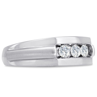 Men's 1/2ct Diamond Ring In 10K White Gold, I-J-K, I1-I2
