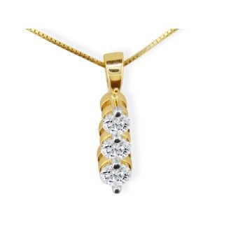3/4ct Three Diamond Drop Style Diamond Pendant In 14k Yellow Gold