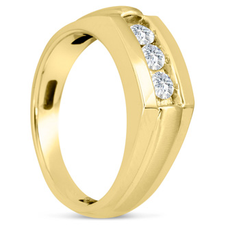 Men's 1/2ct Diamond Ring In 14K Yellow Gold, G-H, I2-I3