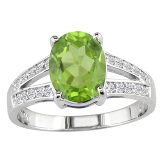 Split Band 1 1/2ct Peridot and .15ct Diamond Ring, 14k White Gold