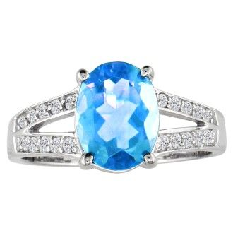 Split Band 2 1/4ct Blue Topaz and 1/5ct Diamond Ring, 14k White Gold