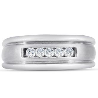 Men's 1/4ct Diamond Ring In 14K White Gold, G-H, I2-I3