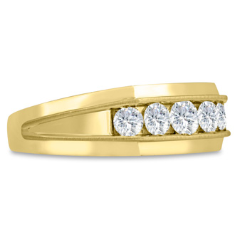Men's 1ct Diamond Ring In 10K Yellow Gold, G-H, I2-I3