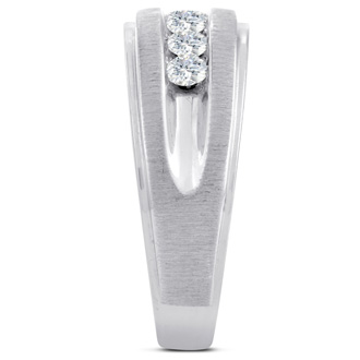 Men's 3/4ct Diamond Ring In 10K White Gold, G-H, I2-I3