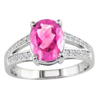 Split Band 2 1/4ct Pink Topaz and 1/5ct Diamond Ring, 14k White Gold