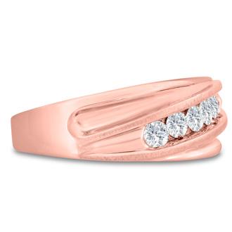 Men's 3/5ct Diamond Ring In 10K Rose Gold, I-J-K, I1-I2