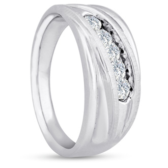 Men's 3/5ct Diamond Ring In 10K White Gold, G-H, I2-I3