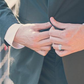 Men's 3/5ct Diamond Ring In 14K White Gold, I-J-K, I1-I2