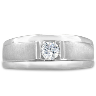 Men's 1/3ct Diamond Ring In 14K White Gold, G-H, I2-I3