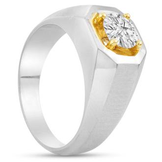 Men's 1ct Diamond Ring In 10K Two-Tone Gold, I-J-K, I1-I2