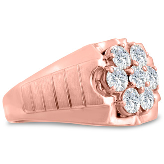 Men's 1 3/4ct Diamond Ring In 10K Rose Gold, G-H, I2-I3