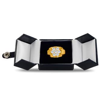 Men's 1 3/4ct Diamond Ring In 10K Yellow Gold, G-H, I2-I3