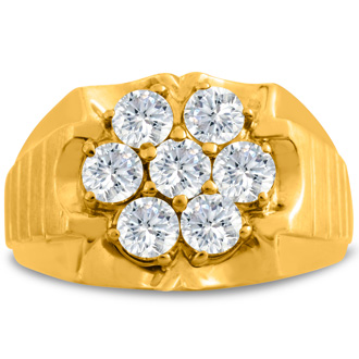 Men's 1 3/4ct Diamond Ring In 10K Yellow Gold, I-J-K, I1-I2