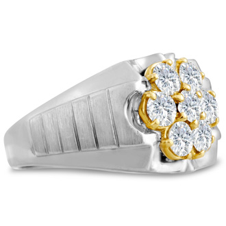 Men's 1 3/4ct Diamond Ring In 10K Two-Tone Gold, G-H, I2-I3