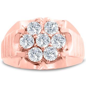 Men's 1 3/4ct Diamond Ring In 14K Rose Gold, I-J-K, I1-I2