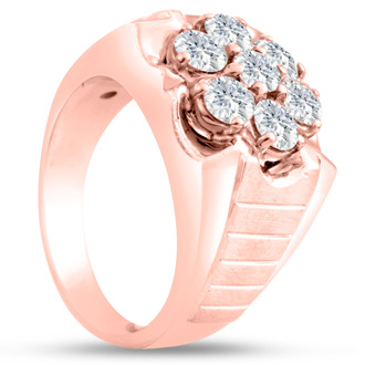 Men's 1 3/4ct Diamond Ring In 14K Rose Gold, I-J-K, I1-I2