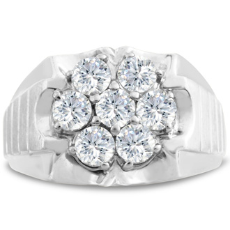 Men's 1 3/4ct Diamond Ring In 14K White Gold, I-J-K, I1-I2