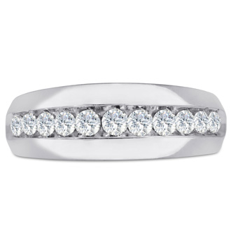 Men's 1ct Diamond Ring In 14K White Gold, G-H, I2-I3