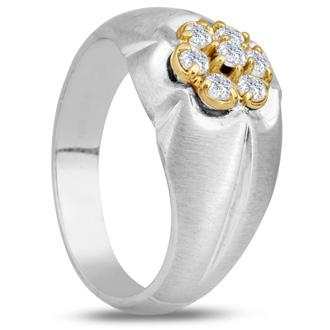 Men's 1/2ct Diamond Ring In 10K Two-Tone Gold, G-H, I2-I3