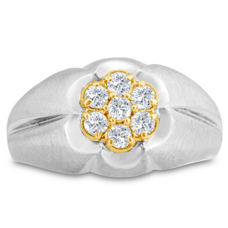 Men's 1/2ct Diamond Ring In 14K Two-Tone Gold, I-J-K, I1-I2