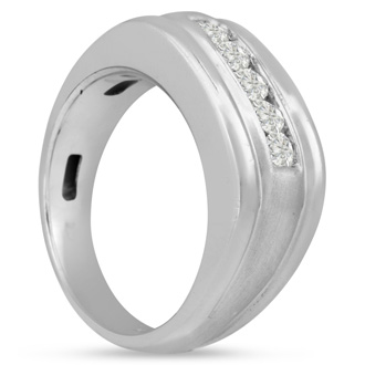 Men's 1/2ct Diamond Ring In 14K White Gold, G-H, I2-I3