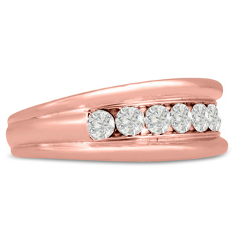 Men's 1ct Diamond Ring In 14K Rose Gold, G-H, I2-I3