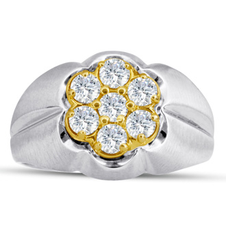 Men's 1ct Diamond Ring In 14K Two-Tone Gold, G-H, I2-I3