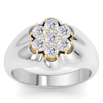 Men's 1ct Diamond Ring In 14K Two-Tone Gold, I-J-K, I1-I2