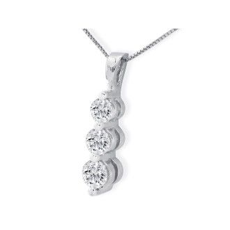 1 1/2ct Three Diamond Drop Style Diamond Pendant In 14k White Gold.